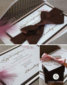 Leonie Gordon London Luxury Pink & Brown Baby Shower Invitation with large Satin Ribbon Bow xx
