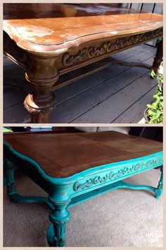 Coffee table I re-finished. Annie Sloan Florence with a clear and dark wax.