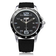 Sale 29% (10.99$) - SKMEI 0992 Date Calendar Round Black Rubber Men Wrist Quartz Watch