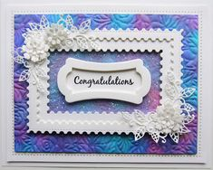 Clear Glue, Sue Wilson, Button Flowers, My Stamp, Embossing Folder, Watercolor And Ink, Postage Stamps, Congratulations, Card Making