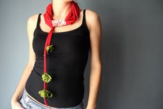 Spring Infinity SCARF NECKLACE with felt flowers by Charisana, $18.00