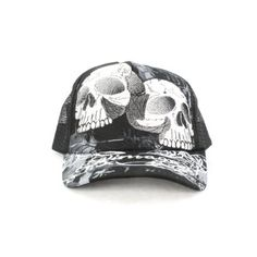 Faddism GCAPBKSKU02 Unisex Baseball Cap Black White Twin Skull Fashion Design Faddism. $16.99. One size fits all. 80%COTTON.20%POLYESTER. Baseball Cap
