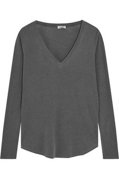 Splendid - Vintage Whisper Supima Cotton-jersey Top - Dark gray - x small