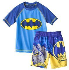 Batman Toddler Boys' Short-Sleeve Rashguard and Swim Trunk Set on shopstyle.com