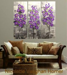 """Original 3 Panel Gallery canvas abstract Modern 36"""" palette knife signature Impasto floral Oil painting by Nicolette Vaughan Horner"""