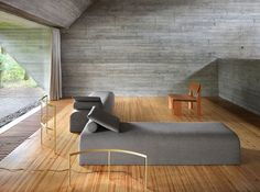 A Breathtaking Furniture Installation Staged Inside a Famed Brutalist House - Sight Unseen Brutalist Furniture, Concrete Furniture, Cool Furniture, Best Interior, Interior And Exterior, Interior Design, House Rooms, Living Room Interior, Home And Living