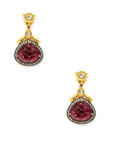 Amrapali 18K yellow gold, oxidized silver, and multi-cut champagne diamond floral earrings with carved tourmaline teardrop details and round ruby cabochon accents.