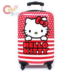 "Sanrio Hello Kitty 20"" Hard Suit Case Trolley Bag, Red Stripe Luggage. http://www.cutesense.com"