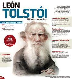 Con la #InfografíaNTX recordamos al escritor León Tolstói, a 107 años de su muerte. Te invitamos a conocer más sobre su legado.