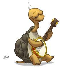 Have you seen enough animals playing banjos yet? I hope not. 龟 卡通形象 Cartoon Drawings, Cute Drawings, Animal Drawings, Baby Animals, Cute Animals, Tortoise Turtle, Turtle Love, Mundo Animal, Owl Art