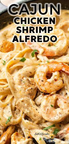 Shrimp Recipes For Dinner, Chicken And Shrimp Recipes, Shrimp Dishes, Easy Pasta Recipes, Pasta Dishes, Seafood Recipes, Cooking Recipes, Fried Chicken, Delicious Pasta Recipes
