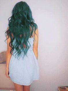 Blue green mermaid hair
