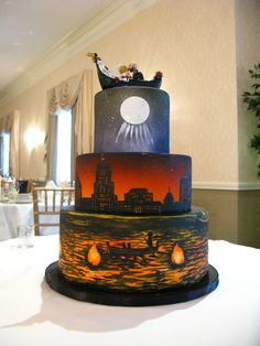 Hand painted gondola wedding cake, waterfire wedding cake, Providence wedding cake, skyline wedding cake, city scape