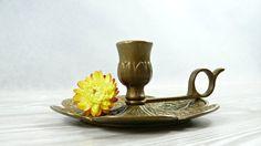Beautiful brass candle holder. Candle holder by VintageLittleGems