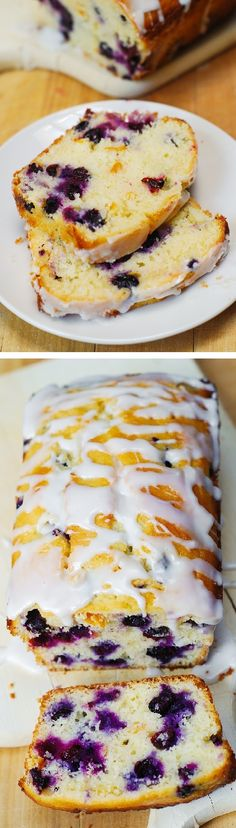 Blueberry vanilla bread with lemon glaze. This delicious bread is stuffed with b… Blueberry vanilla bread with lemon glaze. This delicious bread is stuffed with blueberries, and deliciously flavored with vanilla and lemon zest. Blueberry Bread, Blueberry Recipes, Banana Bread With Blueberries, Blueberries Muffins, Bananas, Think Food, Love Food, Breakfast Recipes, Dessert Recipes