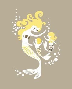 Mermaid print from ThePaperNut Me and my little angels! LUV <3