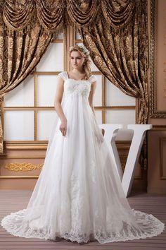 A-line Chiffon Queen Anne Empire Chapel Train Zipper Cap sleeve Appliques Wrap White Wedding Dress picture 1
