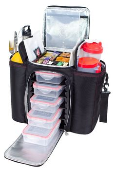 "The DURUS 500 features five meal containers, two gel pacs and is 13"" tall. This 5-tray meal management system is for the fitness elite and keeps the healthy foods you need fresh all day. www.sixpackbags.com"