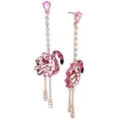 Betsey Johnson Rose Gold-Tone Stone & Imitation Pearl Flamingo Drop... (1,830 THB) ❤ liked on Polyvore featuring jewelry, earrings, pink, faux pearl drop earrings, stone drop earrings, pink drop earrings, faux pearl earrings and betsey johnson jewellery