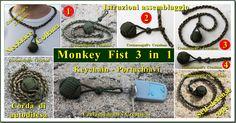 Monkey Fist 3 in 1: Keychain + Neclace + Self-Defense Lanyard.