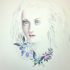 Girl portrait with butterflies