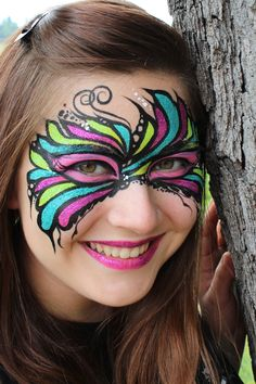 Face painting glitter mask