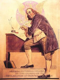 Norman Rockwell Ben Franklin's Sesquicentennial painting