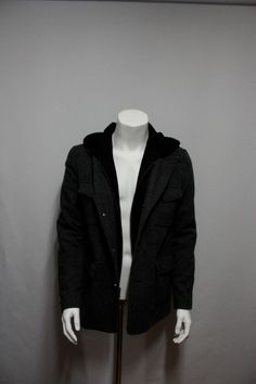 Men's Clothing Coat & Jacket with hood & herringbone pattern (GUESS)