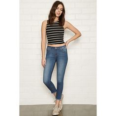 Forever 21 Women's  Raw-Cut Skinny Ankle Jeans ($25) ❤ liked on Polyvore featuring jeans, raw edge jeans, forever 21 jeans, forever 21, padded jeans and forever 21 skinny jeans
