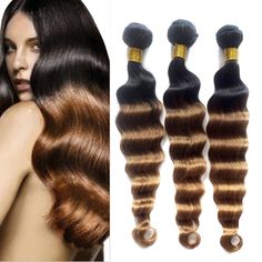 Ombre Hair Extension Brazilian Virgin Human Hair Deep Wave 50g/pc,Color:1B33#27# #WIGISS #HairExtension