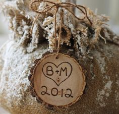 Personalized Rustic Tree Slice Ornament by MichelesCottage on Etsy, $12.99