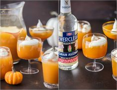 This PUMPKIN PIE PUNCH is the ultimate Thanksgiving cocktail! With apple cider, real pumpkin, and cream soda you'll never believe how tasty this party punch can be. Such a unique and fun holiday drink recipe. Thanksgiving Cocktails, Holiday Drinks, Party Drinks, Holiday Fun, Festive, Samhain Recipes, Pumpkin Cocktail, Halloween Punch, Halloween Party