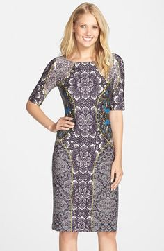 Gabby Skye Mirror Print Scuba Sheath Dress available at #Nordstrom