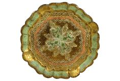 1960 Green-Gold Florentine Tray from Italy on OneKingsLane.com