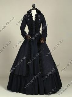 High Quality Victorian Edwardian Penny Dreadful Vampire Witch Steampunk Coat Dress Halloween Costume