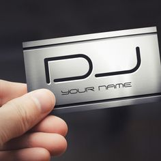 Premium Brushed Stainless Steel Metal - Music DJ Business Card Templates. You can customize this card with your own text, logo, photo, or use this pre-existing template for FREE.