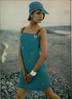 So cute!  I would totally wear this dress today.  Not the hat, though... Blue Hermes hat and dress, 1968