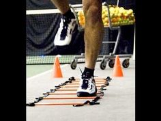Tennis Workout (Increase Agility, Speed, and Footwork): like the lateral suicide drills, and the band drills, but I would do them with wrist weights to begin with (motion specific), then with a racket (sport specific) as a contrast drill. Also would have him hold racket across iliac crest with both hands when just doing explosive trunk rotation.