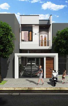 Modern home design Narrow House Designs, Modern Small House Design, Small House Exteriors, Modern Minimalist House, Duplex House Design, Dream House Exterior, Modern House Plans, Small House Plans, Terraced House