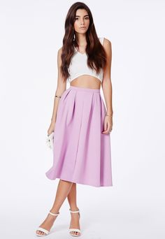 Missguided Auberta Lilac Pleated Midi Skirt In Scuba on shopstyle.com