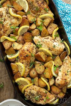 Roasted Chicken and Potatoes with Garlic, Lemon and Herbs - An easy meal in one with moist, tender chicken breasts and golden, crisp potatoes.