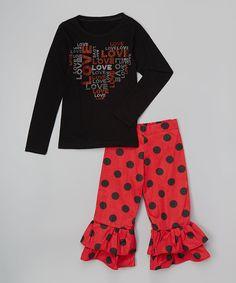 Black & Red 'Love' Heart Tee & Ruffle Pants - Toddler & Girls by Beary Basics #zulily #zulilyfinds