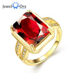 Classic Square CZ Women Ring Gold Color Red Cubic Zircon Rings For Party Women Accessories New (JewelOra RI102009) #Affiliate