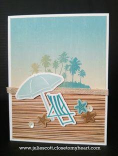 Craft With Julie: No Worries Blog Hop. Beach Card. Close to My Heart. www.juliescott.closetomyheart.com
