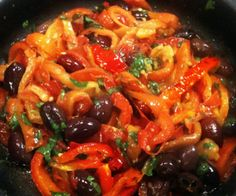 Peperonata is delicious vegetarian Italian salad.Oven roasted marinated vegetables with black olives and dried herbs.