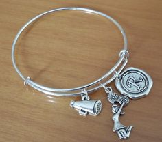 Cheerleader bangle bracelet cheerleading by SummerTreasure on Etsy