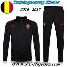 Schönsten Neue Fußball Trainingsanzug Portugal Kinder Kits Schwarz 2016 2017 Meaney