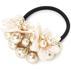 Flower & Faux Pearl Hair Tie ($5) ❤ liked on Polyvore featuring accessories, hair accessories, flower hair accessories, flower hair ties, elastic hair ties and ponytail hair ties