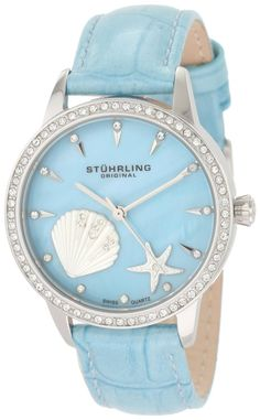 Amazon.com: Stuhrling Original Women's 521.1115C8 Lifestyles Collection Verona La Playa Swiss Quartz Swarovski Crystal Mother-Of-Pearl Watch: Watches