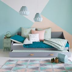 Boden Wand Malerei Farbe Farbe Tapete Parkett Tapete Holz c Boden Wand Malere… - Painted Floor Tile Bedroom Wall Designs, Bedroom Decor, Bedroom Ideas, Girl Room, Girls Bedroom, Room Wall Painting, Faux Painting, Room Colors, New Room